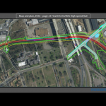 Figure 13A The route of the DC to Richmond high speed rail. Note the yellow line passing over the African Burial Ground II immediately west of Interstate 64 where the Tally Building is located.