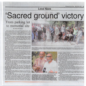 "Figure 27 May 26-28 Edition ""Richmond Free Press"" 'Sacred Ground Victory'"