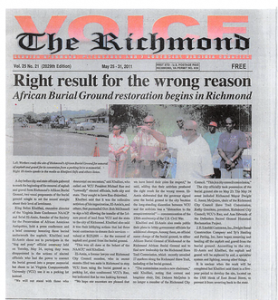 "Figure 28 May 25- 31, 2011 Edition ""The Richmond Voice,"" 'Burial Ground 1 Restoration'"
